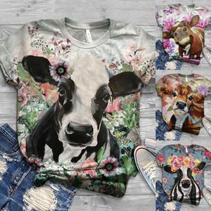 Plus Size Frauen O-Ansatz Kurzschluss-Hülsen-3D-Kuh-Druck-zufällige Spitze T T-Shirt Bluse