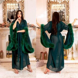 Женщины Winter Sexy Lady искусственного меха пижама Кимоно беременных женщины Халат Sheer Nightgown Зеленый Мантия выпускной вечер Bridesmaid Шавли