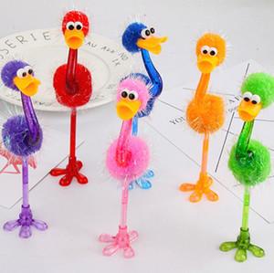 Забавный страус Шариковая ручка Студент Канцелярские Творческий мультфильм игрушки Ручки Офис Школа Pen Дети Лучшие подарки SN4494