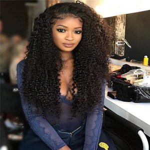 8A Lace Front Human Hair Wigs Kinky Curly 150% Density Virgin Hair With Baby Hair For Black Women Bleached Knots