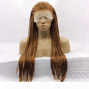 Yaopoly Braid Wig Long African American Braided Wigs Brown Synthetic Lace Front Wig for Black Women