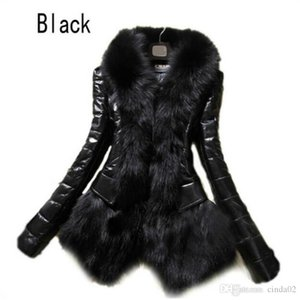 Hot Women's Faux Fur Coat Leather Outerwear Snowsuit Long Sleeve Jacket Black Fashion Free Shipping