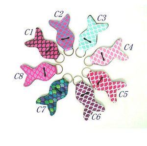 Mermaid Tail Neoprene Lipstick Holder Keychain Chapstick Key Chain Holder Lip Balm Vibrant Prints Key Chain Holder 023