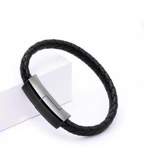 Bracelet USB Câble Type C / Micro Câble USB Cuir Synchronisage de données Synchronisée pour Samsuang S20 / S10 / S9 / S8 / Note 10 Téléphones Android