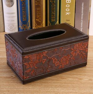 Creative Office Napkin Carton Car Tissue Box Leather Office Desk Accessories Supplies Standard Tissue Rectangular Box Holder For Home Car