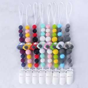 Baby Pacifier Chain Silicone Beads Cute Cartoon Car Charms Wood Silicone Molar Teether Toy Pacifier Anti-Lost Chain Holder Clips