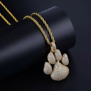 Hip Hop Fashion Paw Dog Cat Claw Necklace Cubic Zircon Gold Silver Color Pendant For Man Women