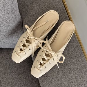 Summer Autumn Lace-up Weave Mules Shoes Fashion Shallow Mouth Flat Women Casual Slippers Outside Beach Flat Slides Half Slipper cs06