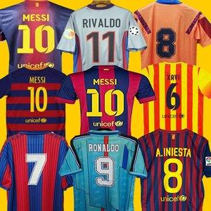 Retro Jersey di calcio di finale 96 97 07 08 09 10 11 XAVI RONALDINHO RONALDO RIVALDO GUARDIOLA Iniesta 100 ° MESSI maillot de foot 1899 1999 set