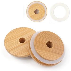 Round Organisateur Couvercles Bamboo Mason Jars Cover Woods creux Bottle Caps sceller la bande Coupe Drinkware 70mm 80mm 3 8HX C2