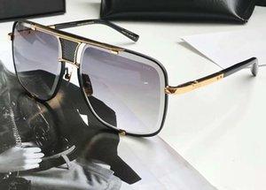 Классический квадратные солнцезащитные очки Золото Черный / Серый Градиентные линзы 2087 Мужские солнцезащитные очки дез люнеты де Солей Новые с коробкой