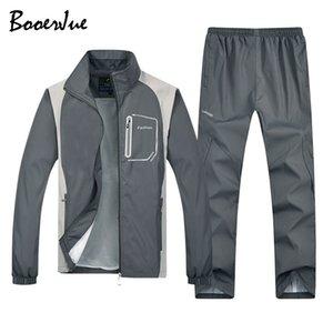 Tracksuit Outwear Set 2 Pieces Sporting Track Sweatshirts Jacket+Pants Sportswear Sets Plus Size M-5XL Men Sweat Suit T200709