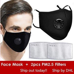 Máscaras libre reutilizada cara con válvula de ventilación, algodón máscara de protección ajustable reutilizable con 2 PM2.