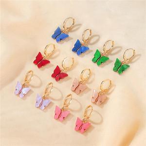 Bohemian Women's Earrings Candy Color Acrylic Butterfly Stud Earrings Animal Sweet Colorful Stud Earrings Girls Jewelry