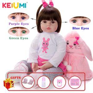KEIUMI silicone souple réaliste Nuisettes Princesse Girl Fashion Baby Doll Jouets Reborn cosplay lapin tout-petits cadeaux d'anniversaire CX200715