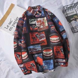 Desenhos animados Doodle Moda Imprimir shirt de manga comprida Casual Masculino Streetwear shirt fraco Plus Size Men Primavera-Verão de Homens BOXDAQ