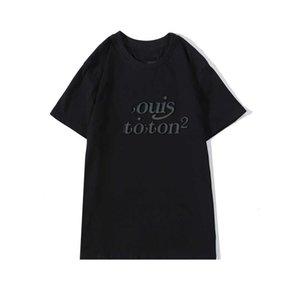 Erkekler Yaz Moda Baskı Yuvarlak Yaka Kısa Kollu Womens Unisex Tişörtlü Floresan Tees Boyut S-2XL için 20SS Casual DesignerT Gömlek