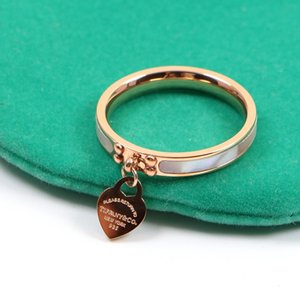 New rings Gold Silver fashion jewelry titanium gold-plated heart-shaped ring T letter letters heart ring female ring for woman Brand