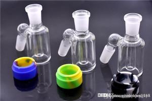 A qualidade superior de vidro Ash Catcher com destacável recipiente de silicone para dab plataforma de petróleo mini-14 milímetros 18 milímetros de vidro ashcatcher bong DHL livre