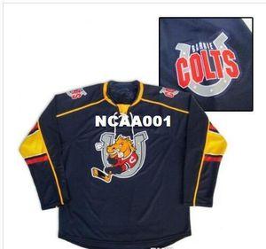 Les vrais hommes réels borderie personnalisés Personnaliser Barrie Colts Hockey Jersey ou tout autre nom ou numéro coutume Hockey Jersey