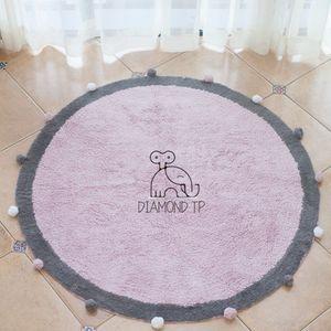 estilo INS bola redonda mat Tapete adereços mat piso de carpete fotografia porta de casa Prop chão de algodão infantil