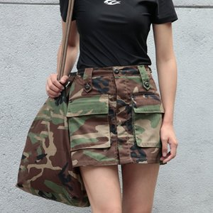 Camouflage Tactical Short Skirt Womens Big Pocket Cotton Wear Resisting Skirt Army Fans Outdoor Combat Training Clothes