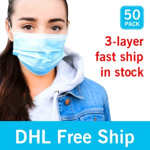 Free DHL 3-7 Days To US EU 50pcs with Box Disposable Face Masks with Elastic Ear Loop 3 Ply Breathable Dust Air Anti-Pollution