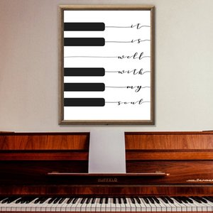 Christian Song Lyric Print It is well with my soul Music Poster Piano Keyboard Art Canvas Painting Picture Home Wall Art Decor