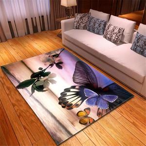 Mariposa Alfombras niñas habitación Mat decoración del piso Alfombra de noche área de cocina suave alfombra antideslizante Alfombras Alfombras 3D para Home Living