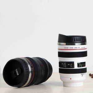 Kapaklar ZZA2450 ile 5 Nesil Kamera Lens Kahve Kupa 400ml Paslanmaz Çelik Termos Bardak Seyahat Kamp Kahve Bardaklar