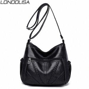 Повседневная сумка женщины плечо мягкая кожа Weave Crossbody Сумки для женщин Ladies Сумка Черная сумка Bolsos Mujer LONOOLISA fJiI #