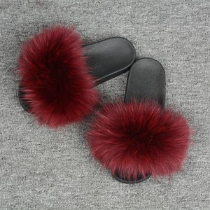 PVC Outsole Material and Women Furry Fluffy Sandals Real Raccoon Fur Slippers Summer Outdoor Indoor Fur Slides