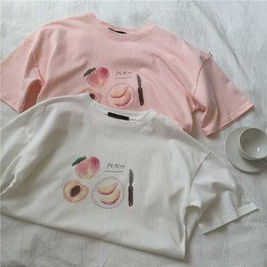 HELIAR Peach Printed Tees Women Printed Women Over Size Half Sleeve T-Shirt O-Neck Cotton Plus Size Tees 2020 Summer