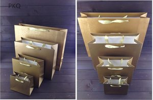 12pcs lot Kraft Paper Gift Bag with Handle Wedding Birthday Party Gift Bag Shopping School Package Bags