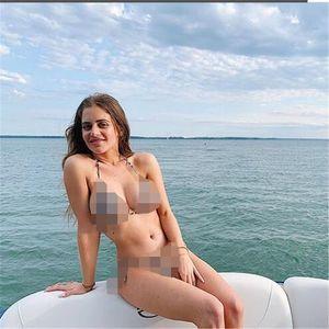 Cinghia sexy del costume da bagno Plaid grado superiore a vita alta Halter Bikini di alta qualità tre punti Quick Dry costume da bagno