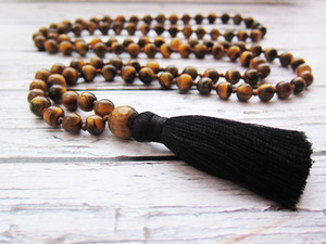Tiger Eye Necklace Tiger Eye Mala Beads Prayer Long Necklaces Beaded Men Gift Necklaces Tassel Jewellery Hand Knotted Necklace CX200721