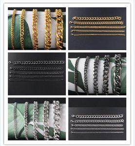 Men Stainless steel bracelet Gold silvery black Side chain Bracelet 3MM 5MM 7MM 9MM 11MM*21CM Fashion Gold Bracelet 10pcs lot