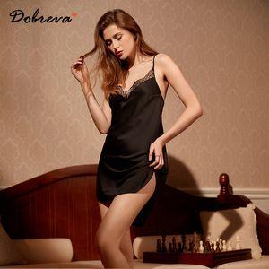 DOBREVA Femmes Sexy Summer Nightgown Robe de nuit en dentelle Sleeping Sling Chemise de nuit