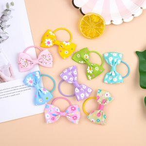 20 Renkler Bebek Bow hairbands çiçek baskı saç bağları Kızlar şeker renk Güzel Papatya Saç Çocuklar Saç Aksesuarları M2341 halatlar
