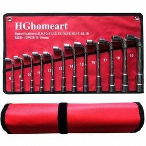 Llave de la herramienta de reparación de automóviles Set L Tipo del zócalo Juego de llaves de acero al carbono de alta L tipo de tuberías de perforación para herramientas Kits Claves con la bolsa Paquete # Fn7b