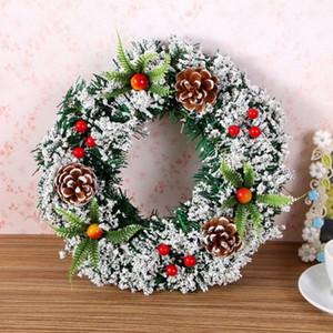 Noël artificiel Garland portes suspendues ornements pré décorées avec des baies Pinecones New Year Party Décor yCXJ #