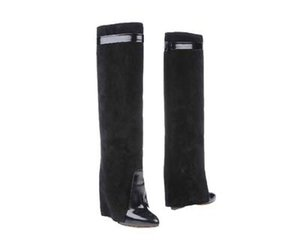 Classic Suede Womens Long Boots Silver Shark lock Knee High Boots Large Size Pointed Toe Pumps Motorcycle Booties High-heeled Shoes
