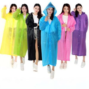 EVA Button Hooded Raincoat 10 Colors Poncho Rainwear Solid Clear String Adults Sleeve Waterproof Rain Jacket LJJO7849