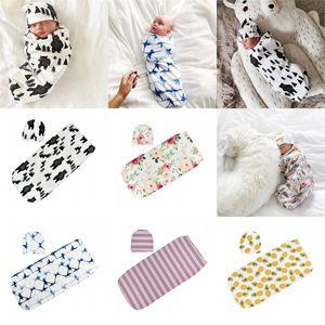 Baby Sleeping Bag Tree Plant Bear Flowers Strips Newborn Scarf Holding Quilt Hugging Blanket Hat Babys Cap Suit Kit Set Colorful 13 4ak C2