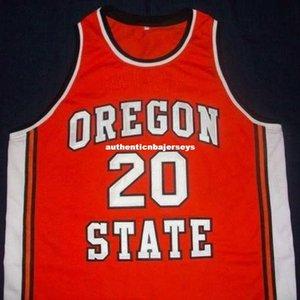 Encargo barato # 20 Gary Payton Oregon State Beavers Baloncesto Jersey Negro bordado cosido Personalizar cualquier tamaño y el nombre