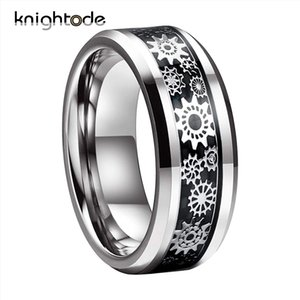 Silvery Trendy Party Metal RingsTungsten Wedding Ring Mechanical Gear Wheel Black Carbon Fiber Inlay Beveled Edges Comfort Fit