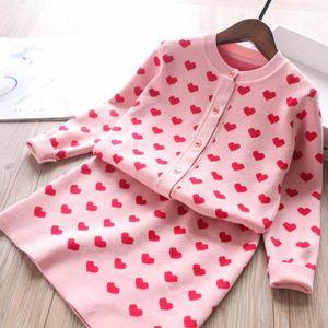 Kids love heart knitting outfits 2020 fall new girls knitting sweater cardigan +Package hip skirts 2pcs children princess sets