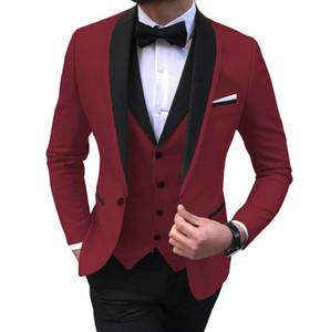 Dunkelrot Herren Anzüge 3 Stück Schwarz-Schal-Revers-beiläufige Smoking für Hochzeit Groomsmen Suits Männer (Blazer + Vest + Pant)
