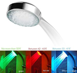 RGB automatic color changing lighted bathroom LED shower head glow in the dark no battery led shower head water flow power