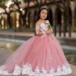 Cute Pink Girls Dress vestidos de desfile de niñas Illusion Long Sleeve White Lace Applique Ball GOwn First Holy Communion Dress Graduation